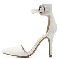 White Textured Pointed Toe D'Orsay Heels by Charlotte Russe
