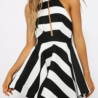 Monochrome Striped Halter Sleeveless Back Cutout Slit Back Mini Skater Dress