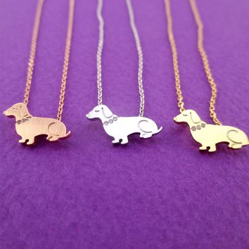 Dachshund Puppy Shaped Charm Necklace with Rhinestones in Silver Gold or Rose Gold