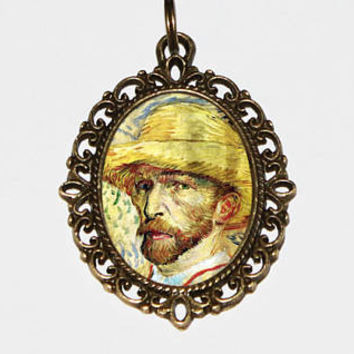 Vincent Van Gogh Necklace, Fine Art Jewelry, Self Portrait, Straw Hat, Bronze Oval Pendant, Gift For Artist
