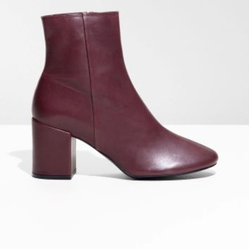 & Other Stories | Unlined Leather Boots | Burgundy