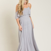Petite Adele Grey Ruffle Maxi Dress