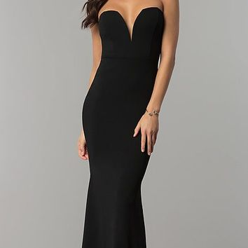 Long Strapless Low-Sweetheart Prom Dress with Cut Out