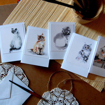 Cats Greeting Cards, Watercolor Painting Print of Cats, Set of 5 Blank Cards, Note Cards, All Purpose Cards