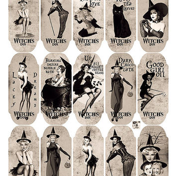 30 Apothecary Sexy Pin Up Halloween Witches Bottle Jar Labels Tags Digital Collage Sheet