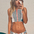 Palm Tree Print Cropped Top and Low Rise Bottom Stripe Swimsuit