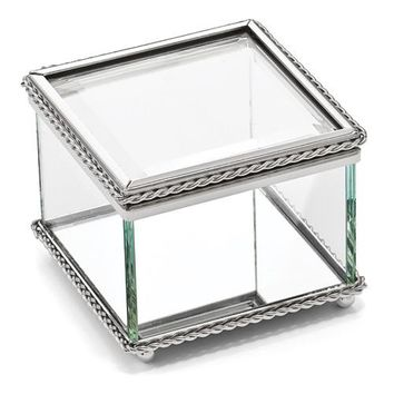 Nickel-plated Hinged Square Glass Box - Etching Personalized Gift Item