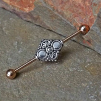 Rose Gold Industrial Barbell Tribal 14ga Body Jewelry Ear Jewelry Double Piercing