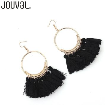 Bohemian Cotton Colorful Tassels Earrings For Women Vintage Jewelry Big Circular Metal Drop Dangles Earrings 2017