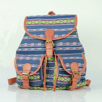 Day-First™ Aztec Ethnic Print Cute Large College Backpacks for School Bag Canvas Daypack Travel Bag