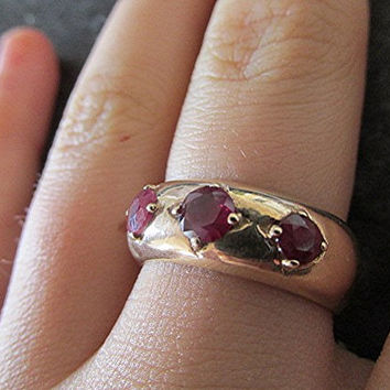 Vintage ruby ring 9ct gold US size 8 natural ruby trilogy Art Deco estate birthstone.