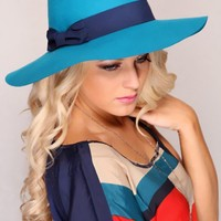 Teal Navy Floppy Fedora Bow Tie Fancy hat @ Amiclubwear Hat Online Store: Women's Hat,Baseball Hat,Beanie Hat,Summer Hats,Cowboy Hats,Western Hats,Newsboy Cab Cap,Baseball Caps,Ladies Hats,Wool Felt Hats,Women's Dress Hats,Cloche Hats,Straw Hats,Sun Hat,W