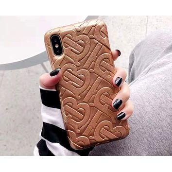 Free shipping-Burberry Tide brand embossed leather iPhone6 case protection case #5