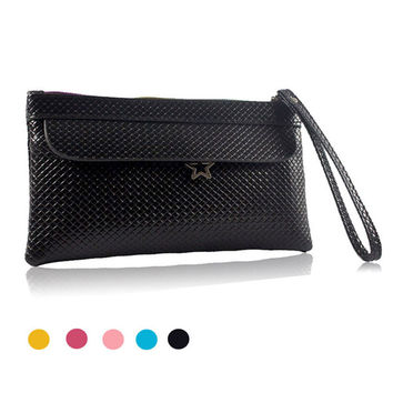 New Fashion Famous Small Women Bags Knitting Women Clutch Purse Solid High Quality PU Leather Purse Phone Bags Gift for Her