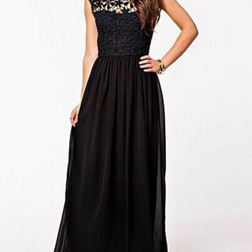 New Black Lace Draped Backless Round Neck Sleeveless Elegant Maxi Dress