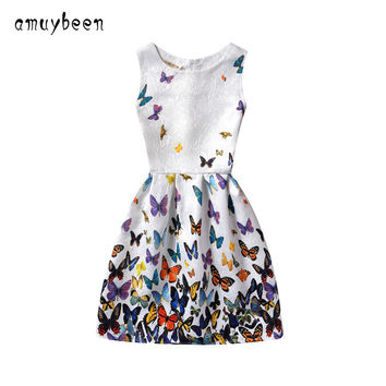 Amuybeen 2017 New Year Kid Summer Christmas Princess Casual Print Pattern Party Girls Dress Children Clothes Baby Girl Dresses 9