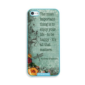Shawnex Audrey Hepburn Quote Enjoy Life Vintage Aqua Plastic iPhone 5 & 5S Case - Fits iPhone 5 & 5S