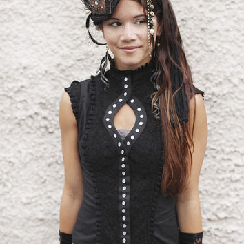 BLACK STEAMPUNK BLOUSE - Burlesque Steam punk Burning Man Tribal Lolita Gothic Shirt Cabaret Couture Top