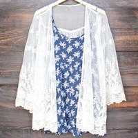semi sheer lace kimono jacket in cream