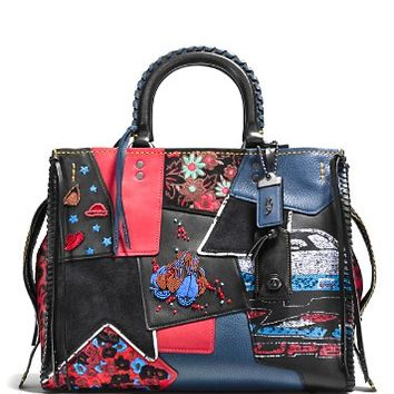 COACH 1941Embellished Patchwork Rogue Satchel in Mixed Materials