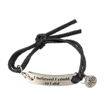 "Inspirational Sayings Bracelet ""I Believed I Could So I Did"" Adjustable Fits Most Wrists"
