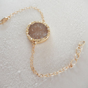 Champagne Druzy Bracelet 14K Gold Circle Crystal Quartz Drusy - Free Shipping OOAK Jewelry