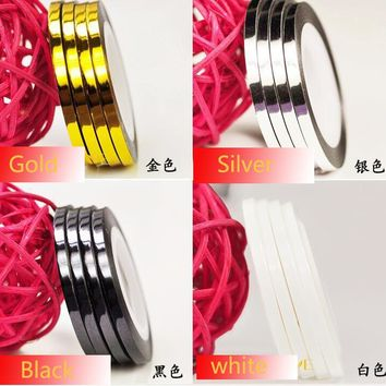 2016 New 5Rolls/lot Adhesive-self 4Colors Gold Silver White  Black Nail Art Striping Tape Stickers Lines Set 2mm Stripe Tape