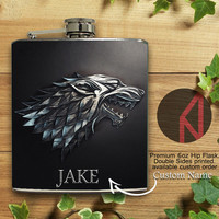 House Of Stark Custom Name 6oz and 8oz Hip Flask