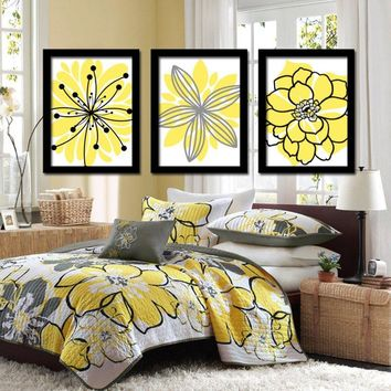 Yellow Black Flower Wall Art, Yellow Black Floral Bedroom Pictures, CANVAS or Prints Yellow Black Floral Bathroom Wall Decor, Set of 3 Art