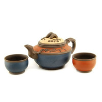 Springtime Blessings - Tri-Color Chinese Teapot with 2 Cups.