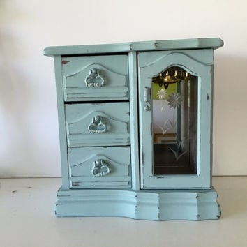 Vintage jewelry armoire box, sea mist, light blue distressed