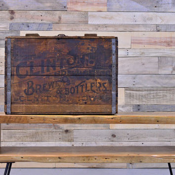 Vintage Clinton Brewing Co Crate, Clinton Iowa, Vintage Wood Crate, Wood Beer Crate
