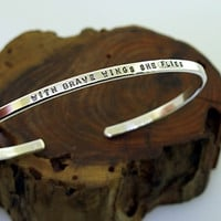 With Brave Wings She Flies, Sterling Silver Cuff Bracelet