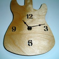 Guitar Wall Clock Handmade from Birch Plywood
