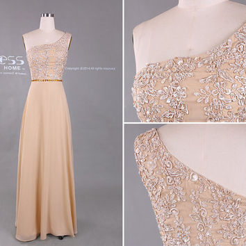 One Shoulder Champagne Prom Dress/Long Prom Dresses/Long Chiffon Prom Dress/Lace Prom Dress/Prom Dresses 2015/Sweet 16 Dress DH405