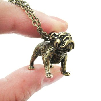 Realistic Life Like Bulldog Shaped Animal Pendant Necklace in Brass | Jewelry for Dog Lovers