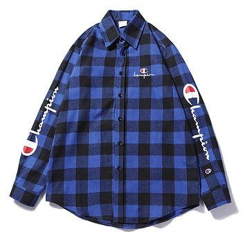 Champion Woman Men Fashion Tartan Lapel Shirt Top Tee