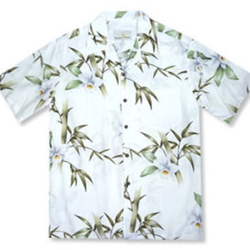 grove white hawaiian rayon shirt