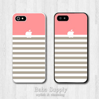iPhone 4 case, iPhone 4s case, iPhone 5 case - Stripe with Coral Apple