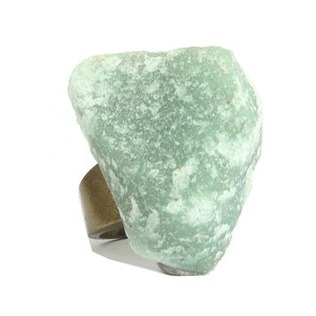 Calcite Ring 05 - Green Raw Rough Stone Chunky (Size 7.5)