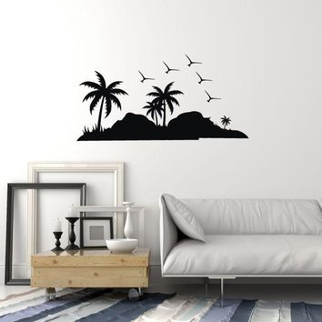 Vinyl Wall Decal Island Palms Birds Home Room Decoration Art Stickers Mural (ig5652)