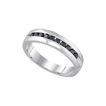 10kt White Gold Mens Round Black Colored Diamond Band Wedding Anniversary Ring 1/2 Cttw 85619
