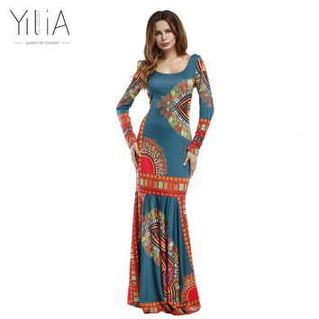 Yilia 2017 Summer African Print Pencil Bodycon Long Maxi Dresses Women Mermaid Sleeveless O Neck Casual Beach Elegant