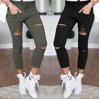 Drawstring Ripped Stretch Women Sexy Jeans Pants