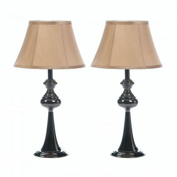 Black Plated Lamp Trio