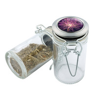 Glass Stash Jar - Purple Leaf - 75ml Storage Container -  Secret Stash Box for Custom Herb Grinder - Stay Fresh Herbs 1/6 oz.