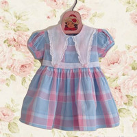 Vintage 50's Toddler Dress, Little Girl Dress, 1950's Dress, Blue and Pink Plaid Organza Trim, 2T, Cotton Summer Dress, Puff Sleeves Retro