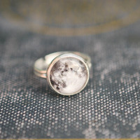 Silver Full Moon Ring