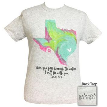 Girlie Girl Pray For Watercolor Texas T-Shirt