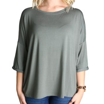 Olive Piko Loose Sleeve Top